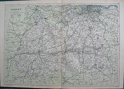 1912 Ca LARGE MAP-BACON - COUNTY OF SURREY, REIGATE, GUILDFORD, CHERTSEY,