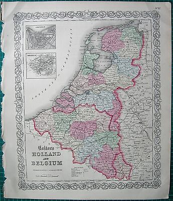 1855 Large Antique Map-Colton- Holland And Belgium