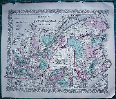 1855 Large Antique Map-Colton- Canada East Or Lower Canada, New Brunswick