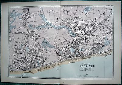 1892 Large Antique Town Plan-Hastings