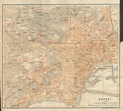 1912 Baedeker Antique Map- Italy-Town  Plan Of Naples