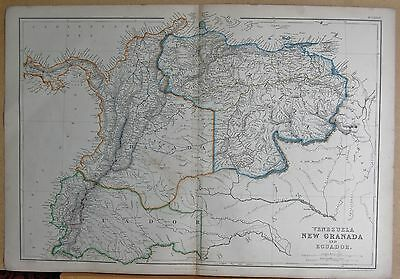 1860  Large Antique Map - Venezuela, New Granada And Ecuador