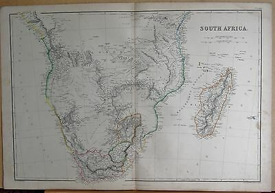 1860  Large Antique Map - South Africa, Madagascar