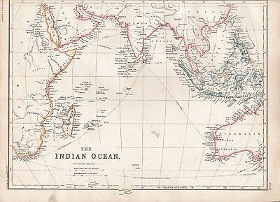 1860  Large Antique Map - The Indian Ocean