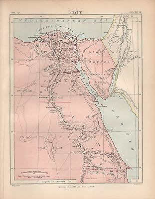 1880 ca ANTIQUE MAP-AFRICA, EGYPT