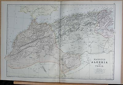 1882 Large Antique Map - Morocco Algeria & Tunisia