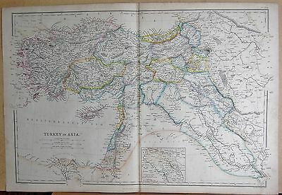 1860  Large Antique Map - Turkey In Asia, Environs Of Mosul