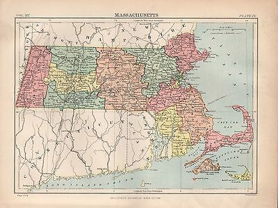 1880 ca ANTIQUE STATE MAP-USA-MASSACHUSETTS