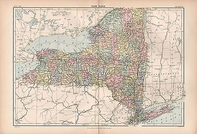 1880 ca ANTIQUE STATE MAP-USA-NEW YORK