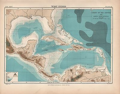 1880 ca ANTIQUE MAP-WEST INDIES, SEA DEPTHS, LAND ELEVATIONS