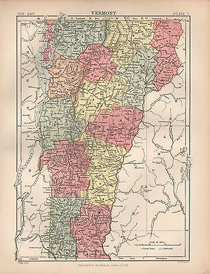 1880 ca ANTIQUE STATE MAP-USA-VERMONT