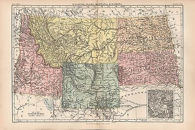 1880 ca ANTIQUE STATE MAP-USA-WYOMING, IDAHO, MONTANA & DAKOTA