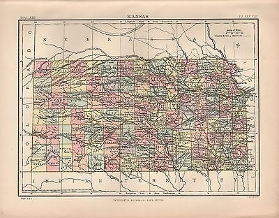 1880 ca ANTIQUE STATE MAP-USA-KANSAS