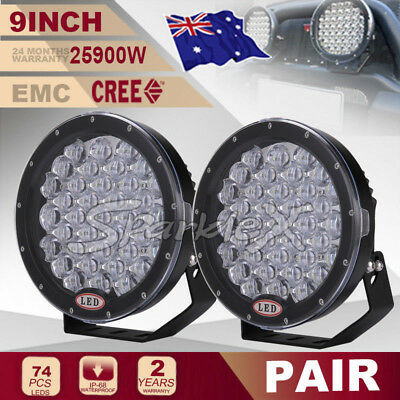 9''25900W HID BLK Round CREE LED Driving Work Lights Spotlights Offroad 4x4 ATV