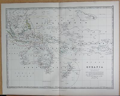 1874  Large Antique Map - Johnston- Oceania