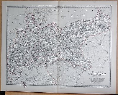 1874  Large Antique Map - Johnston- Empire Of Germany, Northern Portion