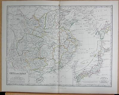 1874  Large Antique Map - Johnston- China And Japan