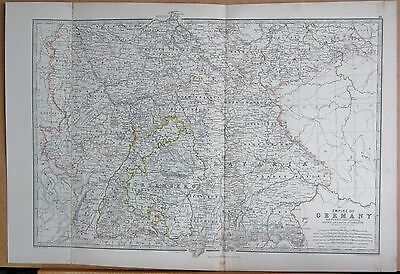 1874  Large Antique Map - Johnston- Empire Of Germany, South West Part Alsace Lo
