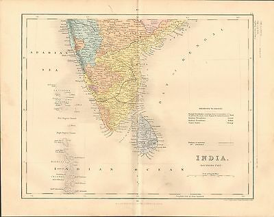 1868 Antique Map-Archer- India, Southern Part