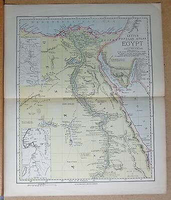 1883  Large Antique Map Egypt Cairo Alexandria Suez Mineveh Nile