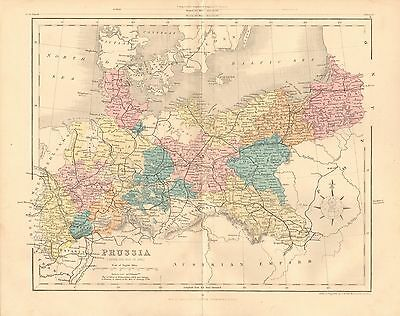 1868 Antique Map-Archer- Prussia After The War Of 1866