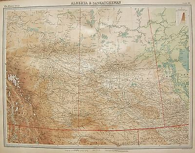 1920  Large  Map : Canada Alberta & Saskatchewan