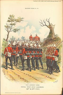 1895 Richard Simkin Military Print, 86 The Queen's Own (Royal West Kent Regiment