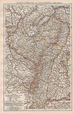 1896  Large Antique  Map : Alsace-Lorraine And Palatinate Of Bavaria