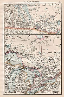 1896  Large Antique  Map : Canada Western, Great Lakes