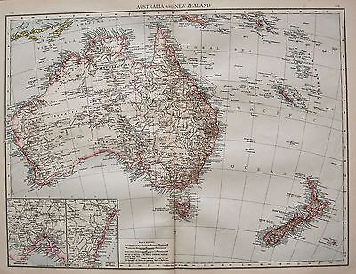 1896  Large Victorian  Map : Australia And New Zealand