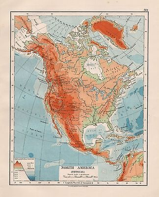 1920 Vintage Map- North America, Physical
