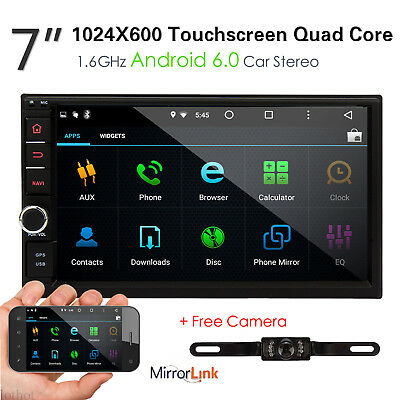 """7"""" Double 2Din Android 6.0 1024*600 Car Stereo Radio 4G WIFI GPS Navigation+CAM"""