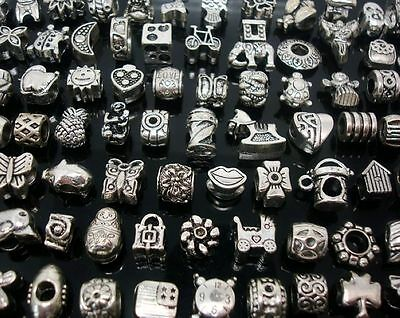 Wholesale 100pcs Mixed Tibet Silver Plated Motley Variety of Big Hole Beads