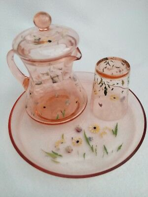 Vintage bedside water jug and glass set in pink glass and hand painted flowers