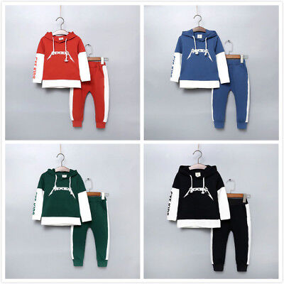 Kids Tracksuit Outfits Pants Boy Girls Hoodie Hooded Romper Jumpsuit Clothes Set