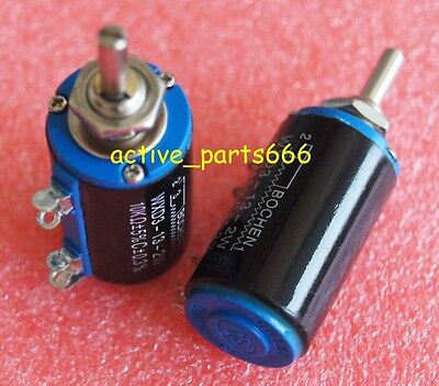 2pcs WXD3-13-2W 1K ohm Multi Turn Wire Wound Control Potentiometers BLACK NEW