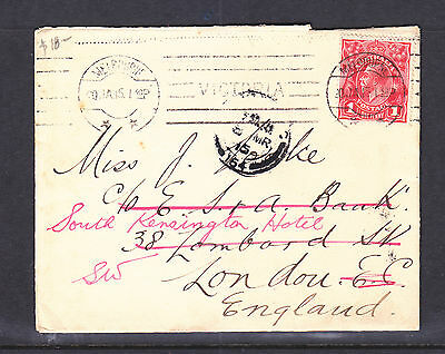 1915 1d RED KGV ON COVER TO ENGLAND...