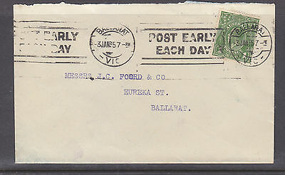 "1935  KGV 1d GREEN ON COVER TO BALLART WITH SLOGAN ""POST EARLY EACH DAY"""