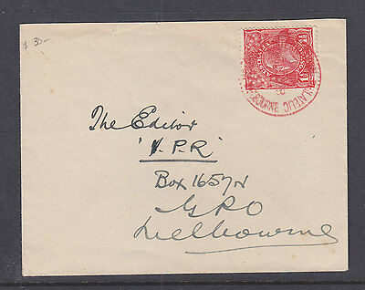 KGV 1 1/2d RED CANCELLED WITH WHAT LOOKS LIKE THE 1928 EXHIBITION CANCEL IN RED.