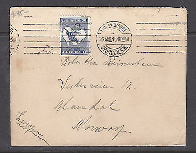 1915 2 1/2d KANGAROO 1ST WMK  ON COVER TO NORWAY?