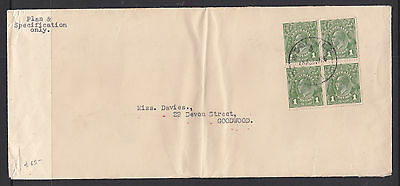1926 1d GREEN KGV BLOCK OF 4 ON JUMBO COVER