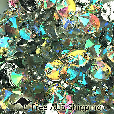Clear AB Rivoli Round Acrylic Crystal Flatback Rhinestones 8mm - 100pcs Sew On