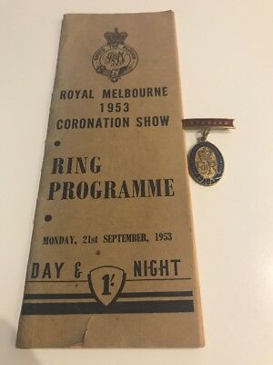 Royal Melbourne 1953 Show Badge And Programme