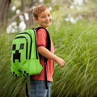 Minecraft Backpack School Bag Green Creeper Rucksack Sport Waterproof Kids Gift