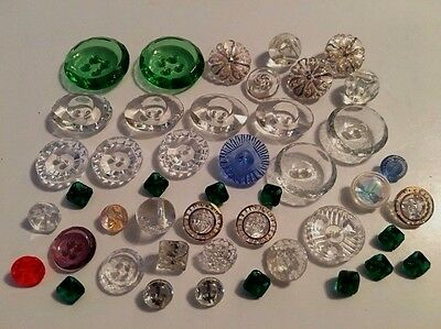 ⭐️  Vintage Lot Of 45 Buttons Depression Clear Glass & Some Color   ⭐️