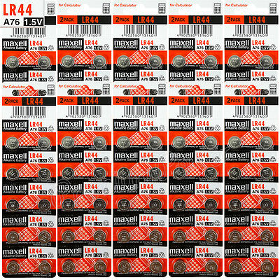 100 x Maxell LR44 Alkaline batteries 1.5V A76 AG13 303 357 L1154 SR44 Pack of 2