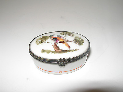"Antique Patch Box Snuff Box Trinket Birds & Trees 'Battersea style"" Porcelain"