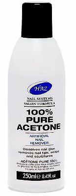 HAZ 100% Pure Acetone Nail Polish Varnish Tip Remover - 250ml