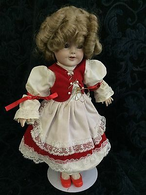 "Shirley Temple 16"" + Porcelain Doll In Red"