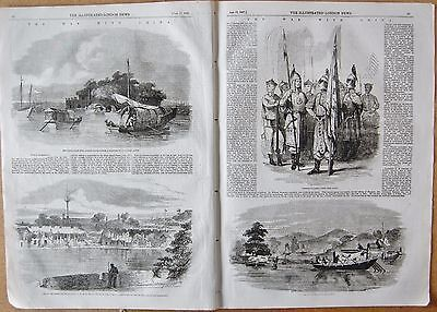 1857 Antique Print -The War With China, Canton, Soldiers